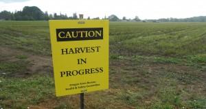 caution harvest sign